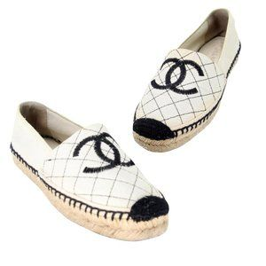 Chanel Diamond Quilted Stitching Espadrille Flats